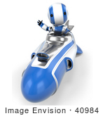#40984 Clip Art Graphic Of An Ao-Maru Robot In Blue Waving And Driving A Hovering Rocket