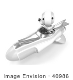 #40986 Clip Art Graphic Of An Ao-Maru Robot In Silver Waving And Driving A Speedy Rocket