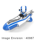 #40987 Clip Art Graphic Of An Ao-Maru Robot In Blue Waving And Driving A Speedy Rocket
