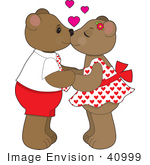 #40999 Clip Art Graphic of Two Smooching Teddy Bears Holding Hands, Hearts Above Them by Maria Bell