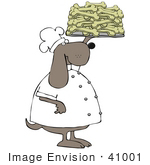 #41001 Clip Art Graphic of a Bakery Dog Chef Holding Up A Platter Of Fresh Baked Doggy Bone Biscuits by DJArt