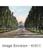 #41011 Stock Photo Of A Tree Lined Road And Sidewalks Leading To The Domed Salt Palace Salt Lake City Utah