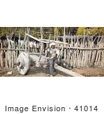 #41014 Stock Photo Of A Senior Native American Man Sitting On A Cart Pueblo Of San Juan New Mexico