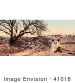 #41018 Stock Photo Of Pueblo Natives Carrying Water Urns On Their Heads Going To The Spring To Gather Water New Mexico