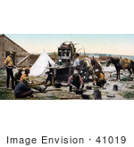 #41019 Stock Photo Of Cowboys Preparing Food At The Chuck Wagon, Colorado by JVPD