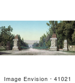 #41021 Stock Photo Of The Entry Road To Leland Standford Junior University Or Stanford California