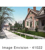 #41022 Stock Photo Of A Sidewalk In Front Of The Lion House In Salt Lake City Utah