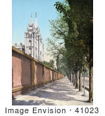 #41023 Stock Photo Of A Tree Lined Sidewalk Along A Wall By The Temple In Salt Lake City Utah