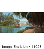 #41028 Stock Photo Of A Path Along The Pond At Hollenbeck Park Los Angeles California