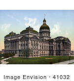 #41032 Stock Photo Of The Domed Indiana State Capitol Building In Indianapolis Indiana