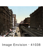 #41038 Stock Photo Of A Train On An Elevated Railroad Over Wabash Avenue North From Adams Street In Chicago Illinois