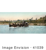 #41039 Stock Photo Of A Team Of Horses Pulling A Carriage While Crossing The Santa Ynez River In California