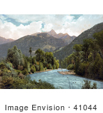 #41044 Stock Photo Of A View Of A River Flowing Near The Needle Mountains As Seen From Animas Canyon In Colorado
