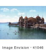 #41046 Stock Photo Of Swimmers Near The Saltair Pavilion On Great Salt Lake Utah