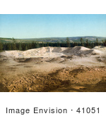 #41051 Stock Photo Of The Paint Pot And A Line Of Evergreen Trees At Yellowstone National Park Wyoming