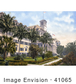 #41065 Stock Photo Of Palm Trees In Front Of The Royal Poinciana Hotel In Palm Beach Florida