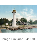#41070 Stock Photo Of The White Biloxi Lighthouse In Biloxi Mississippi