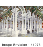 #41073 Stock Photo Of Painted Ceilings Columns And Benches In The Central Stair Hall Of The Library Of Congress Washington Dc