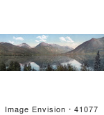 #41077 Stock Photo Of A Panoramic View Of Mountains Reflecting In Upper Twin Lake In Colorado