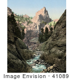 #41089 Stock Photo Of Mountain Peaks And A Creek Running Through South Cheyenne Canyon In Colorado