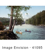 #41095 Stock Photo Of Four Men Canoeing In A Stream In The Adirondack Mountains New York