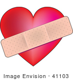 #41103 Clip Art Graphic Of A Bandage Over A Heart Symbolizing Heat Health Or The Pains Of Love