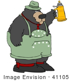#41105 Clip Art Graphic of an Oktoberfest Bear Toasting With A Beer Stein by DJArt