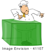 #41107 Clip Art Graphic Of A Caucasian Male Chef Caught In Lime Green Gelatin Dessert
