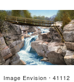 #41112 Stock Photo Of A Footbridge Over The Upper Falls Of The Ammonoosuc River In The White Mountains Of New Hampsire