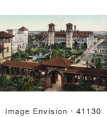 #41130 Stock Photo Of The Extravagant Grounds Gates And Buildings Of The Alcazar Resort Hotel Now Lightner Museum In St Augustine Flrida