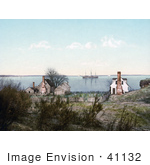 #41132 Stock Photo Of Homes On The Yorktown Harbor With A Ship In The Background Yorktown Virginia