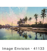 #41133 Stock Photo Of Boats Lined On The Beach Near Palm Trees On The Miami River In Florida