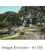 #41139 Stock Photo Of Paths Leading To The Entrance Of The Devil'S Den At The National Miliary Park In Gettysburg Pennsylvania