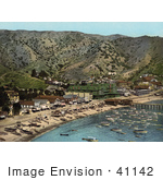 #41142 Stock Photo Of Boats In The Harbor In Front Of Hotels On The Beach Of Avalon Of Santa Catalina Island California