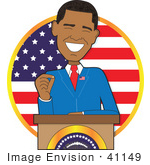 #41149 Clip Art Graphic of American President, Barack Obama, Giving a Speech at a Podium by Maria Bell