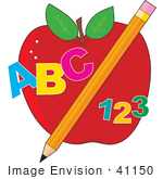 #41150 Clip Art Graphic Of Abc And 123 With A Pencil In Front Of An Apple