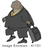 #41151 Clip Art Graphic Of An African American Businessman With A Rolling Suitcase