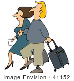 #41152 Clip Art Graphic Of A Caucasian Couple Walking With Rolling Suitcases