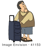 #41153 Clip Art Graphic Of A Caucasian Man Looking Back While Zipping Compartments In His Suitcase
