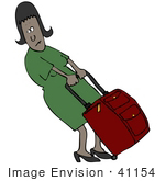 #41154 Clip Art Graphic Of An African American Woman Trying To Budge Her Heavy Rolling Suitcase