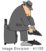 #41155 Clip Art Graphic Of A Caucasian Man Putting His Shoes And Socks On And Leaning Against His Rolling Suitcase