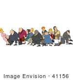 #41156 Clip Art Graphic of a Diverse Group Of Tourists With Luggage by DJArt