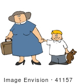 #41157 Clip Art Graphic of a Happy Little Caucasian Boy With A Teddy Bear, Holding His Mom's Hand While She Carries A Suitcase by DJArt