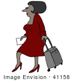 #41158 Clip Art Graphic of an African American Woman In Red, Walking With A Rolling Suitcase by DJArt