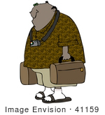 #41159 Clip Art Graphic Of An African American Guy Wearing A Camera Around His Neck Carrying Luggage