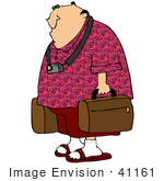 #41161 Clip Art Graphic Of A Caucasian Tourist Guy With A Camera Around His Neck Carrying Suitcases
