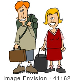 #41162 Clip Art Graphic Of A Happy Young Caucasian Couple Could Be Brother And Sister Smiling And Standing With Suitcases