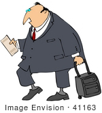 #41163 Clip Art Graphic Of A Caucasian Businessman Reading His Plane Ticket While Pulling Rolling Luggage