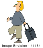 #41164 Clip Art Graphic Of A Blond Caucasian Guy Walking With A Rolling Suitcase