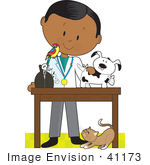 #41173 Clip Art Graphic Of A Male Hispanic Or African American Veterinarian With A Cat At His Feet And A Bird On His Shoulder Treating An Injured Puppy